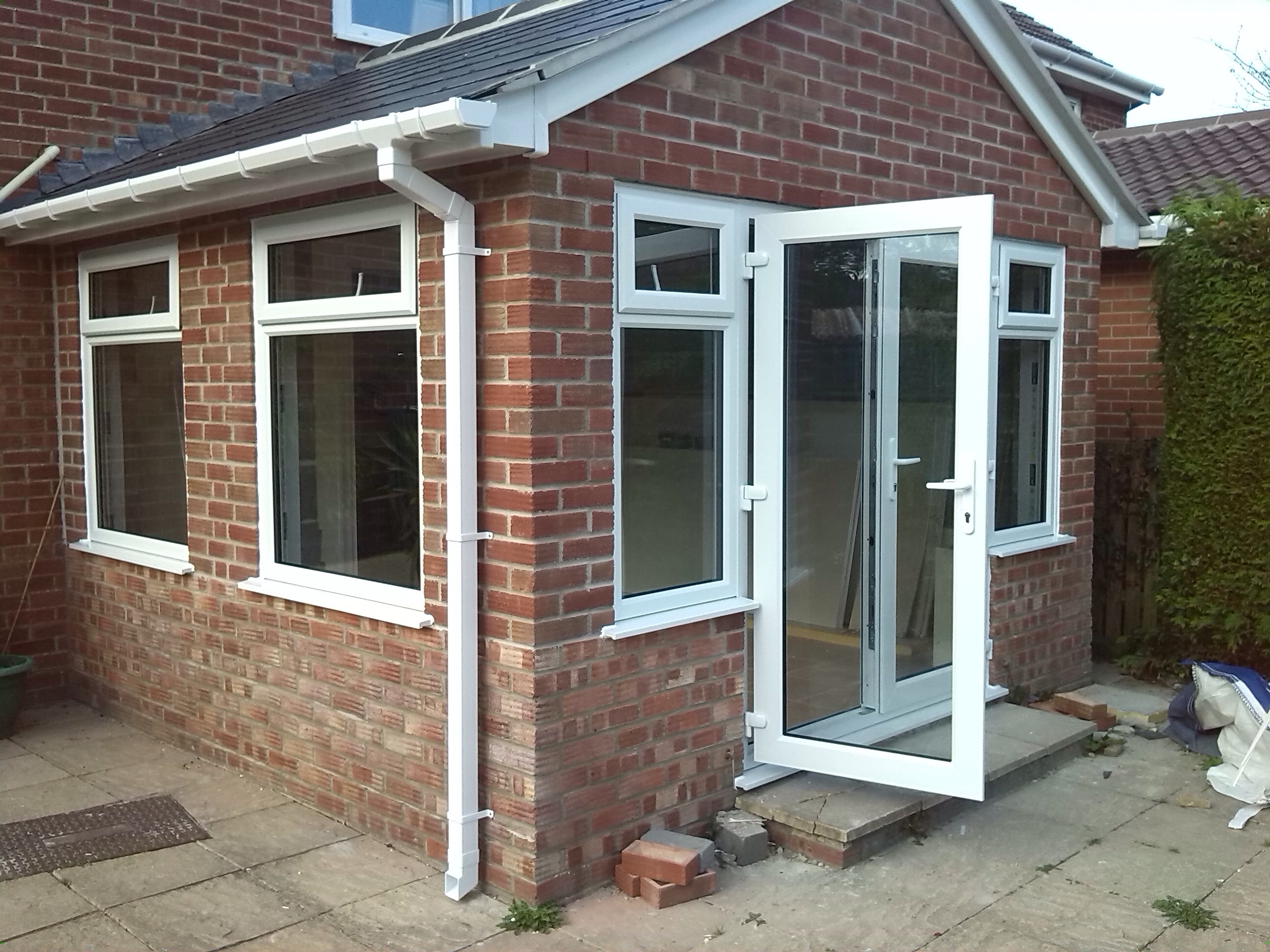 New upvc windows and doors in an extension in broadmayne for Upvc french doors dorset